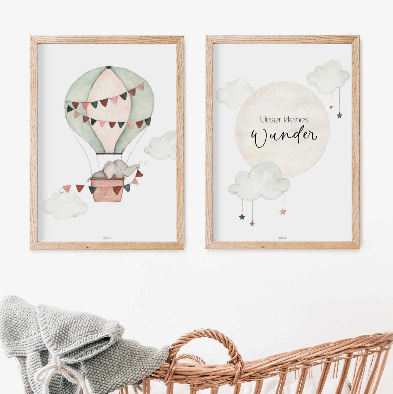 Poster heissluftballon + Mond